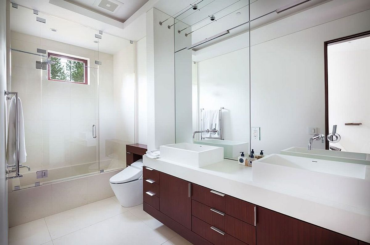 Floating wooden vanity of the bathroom white top