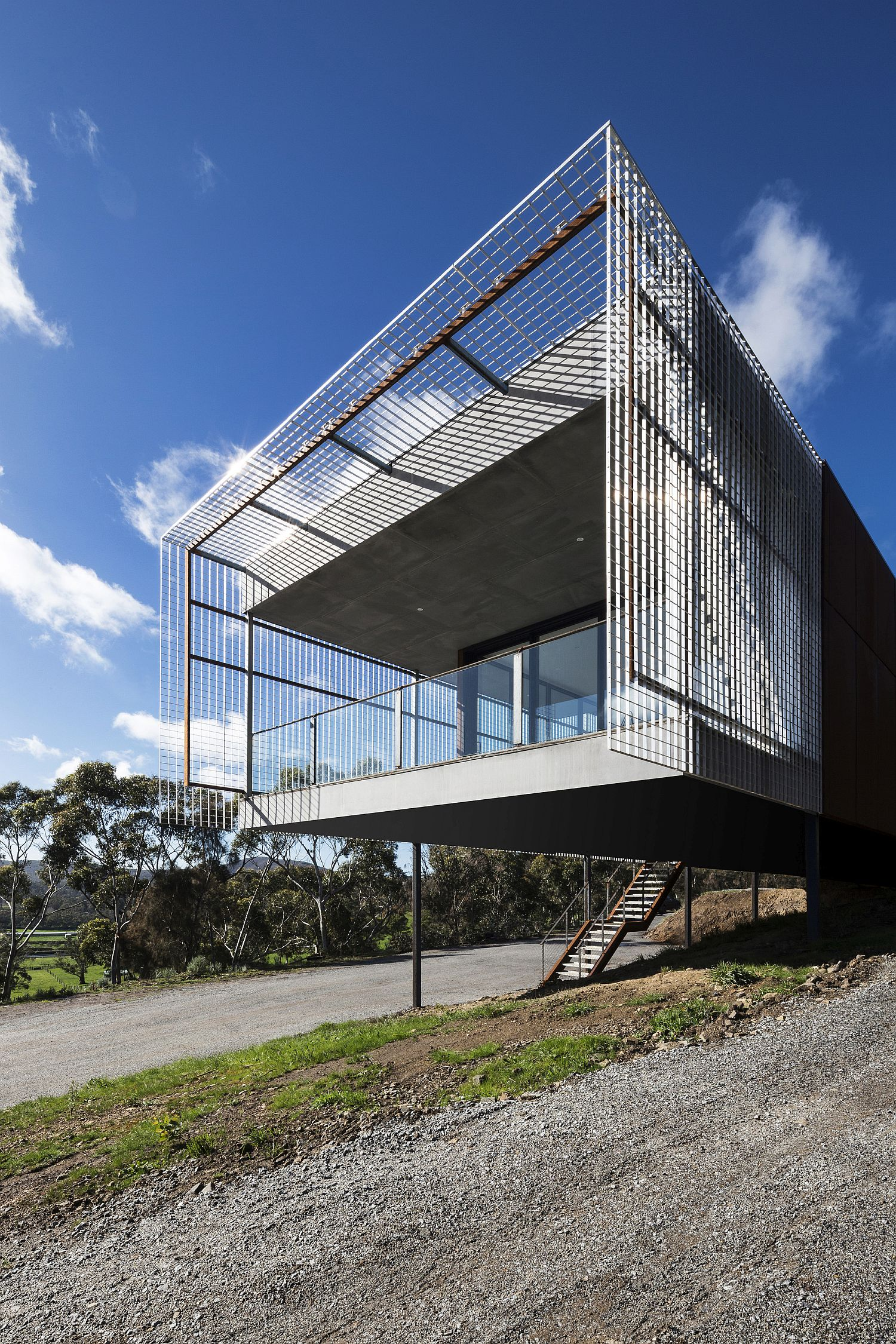 Deck of the Mount Macedon House cleverly concealed in a wiry frame