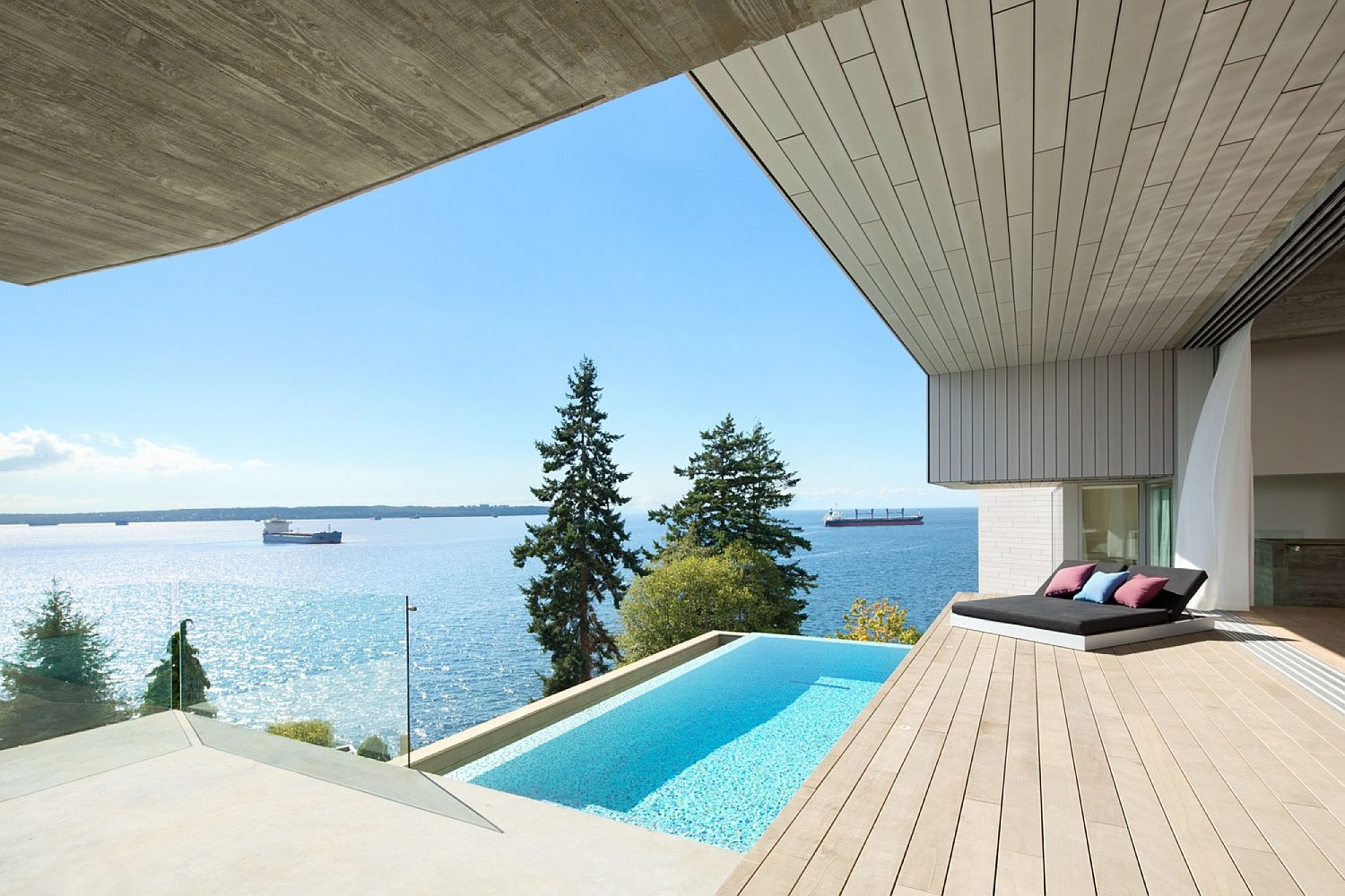 Fabulous ocean views from the suspended deck and plunge pool at the Vancouver home