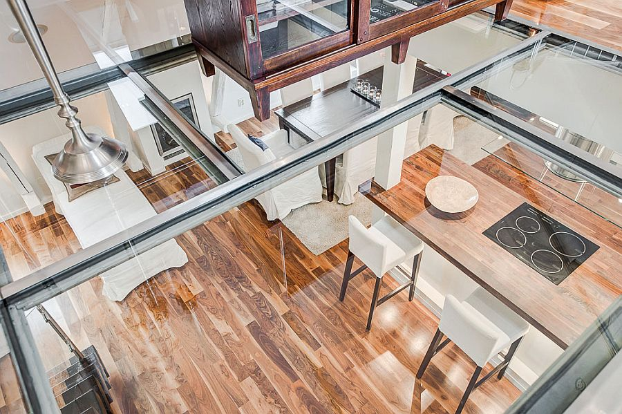 Look at the living area below from the glass floor sitting zone