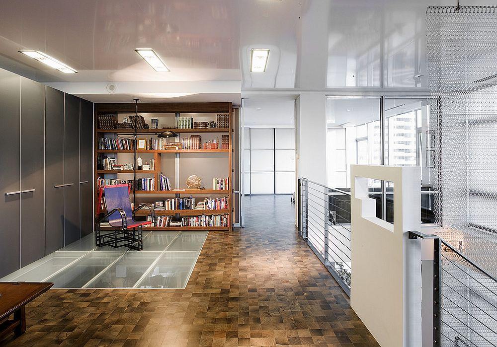 Mezzanine level library with glass floor