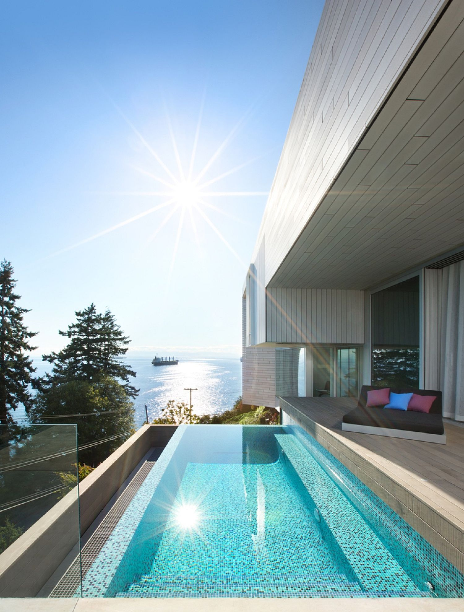 Plunge pool and deck at the Sunset House become a part of the interior