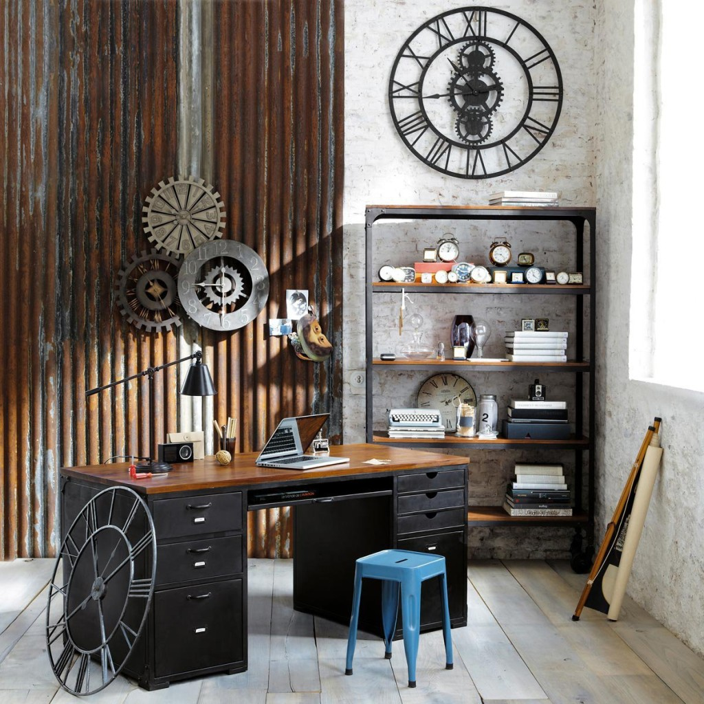 Rustic home office that carries many elements of steampunk