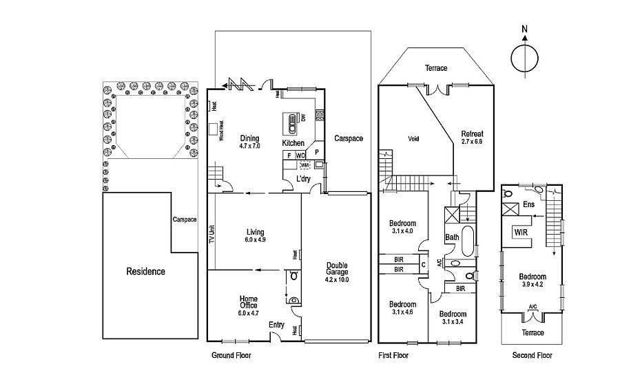 Floor plan of warehouse converted into contemporary home in Melbourne