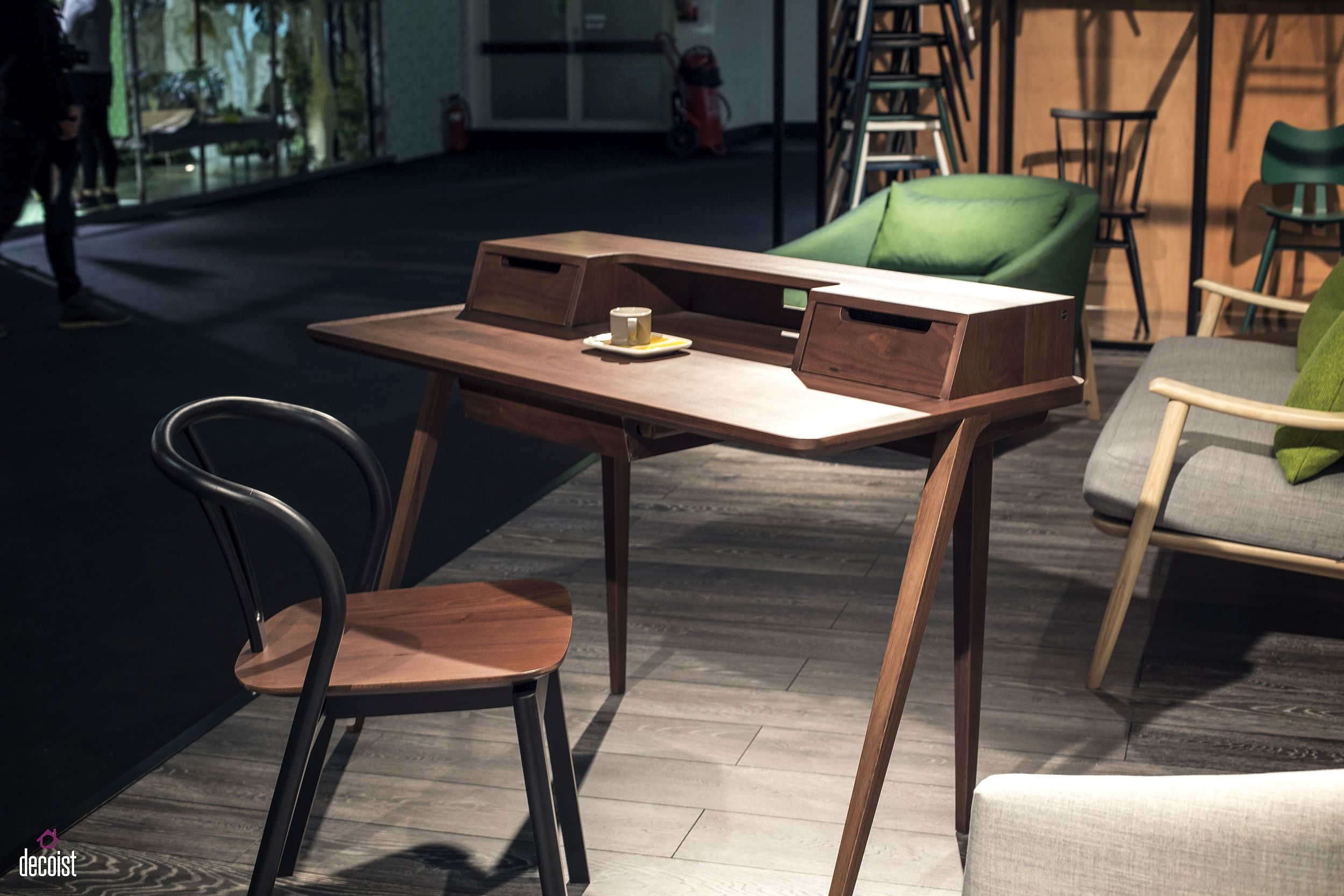 Goregous Treviso desk in walnut is perfect for the smart home office