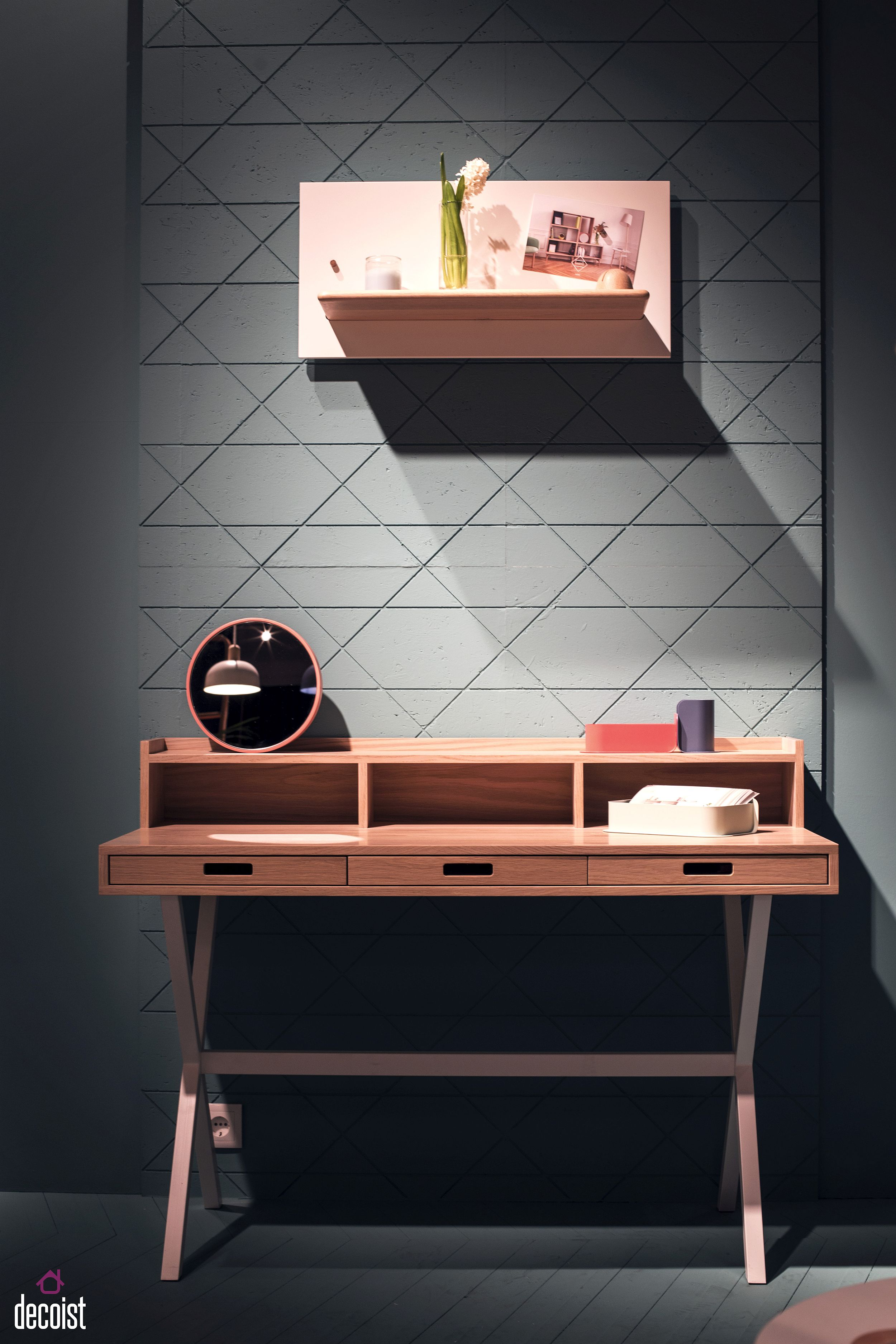 Slim desk with smart drawers for the home office from Harto