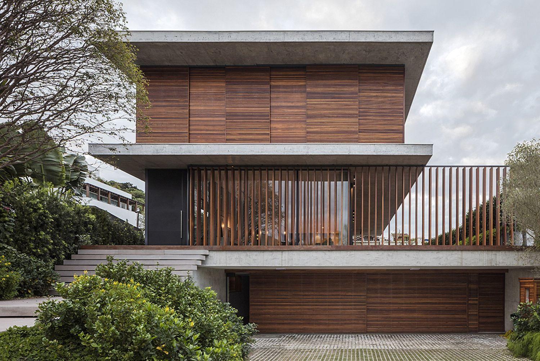 Wooden slats create a fabulous facade