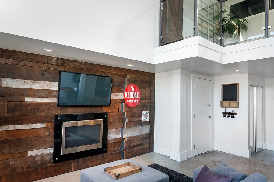 Closer look at the accent wall crafted using reclaimed barn wood