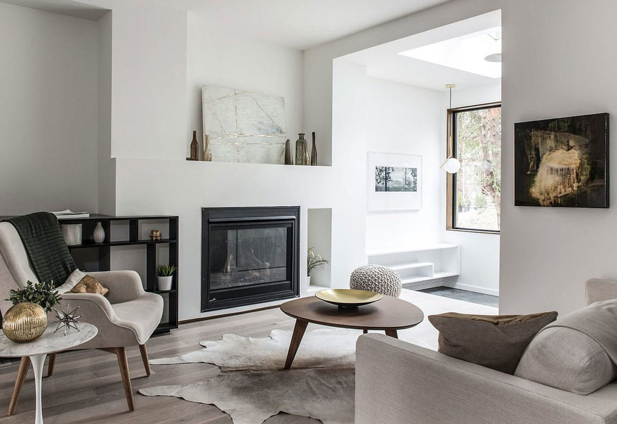 Living room in white offers a smart and relaxing backdrop