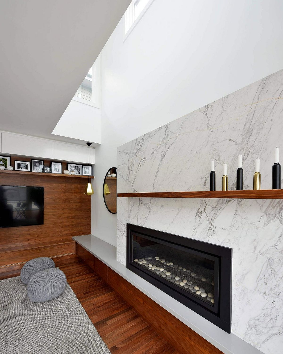 Marble and wood present contrasting textures