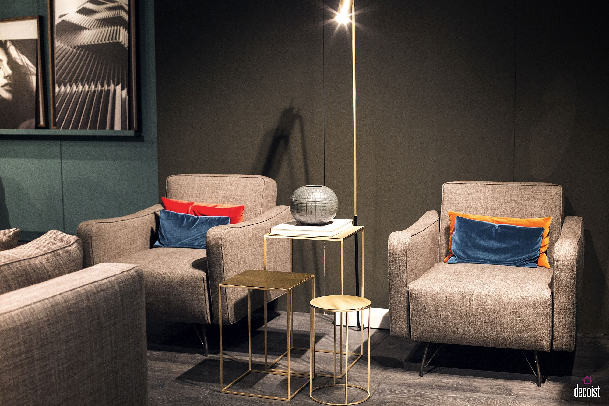 Series of end tables with metallic dazzle from Vibieffe