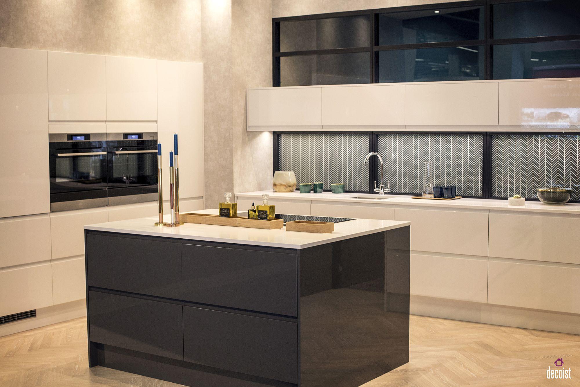Subtle addition of chevron pattern to the modern kitchen