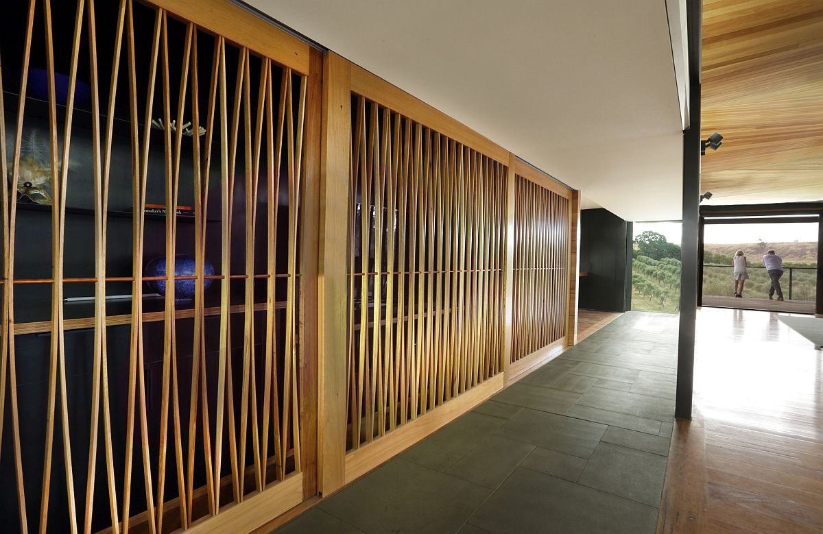 Timber framework adds textural beauty to the interior
