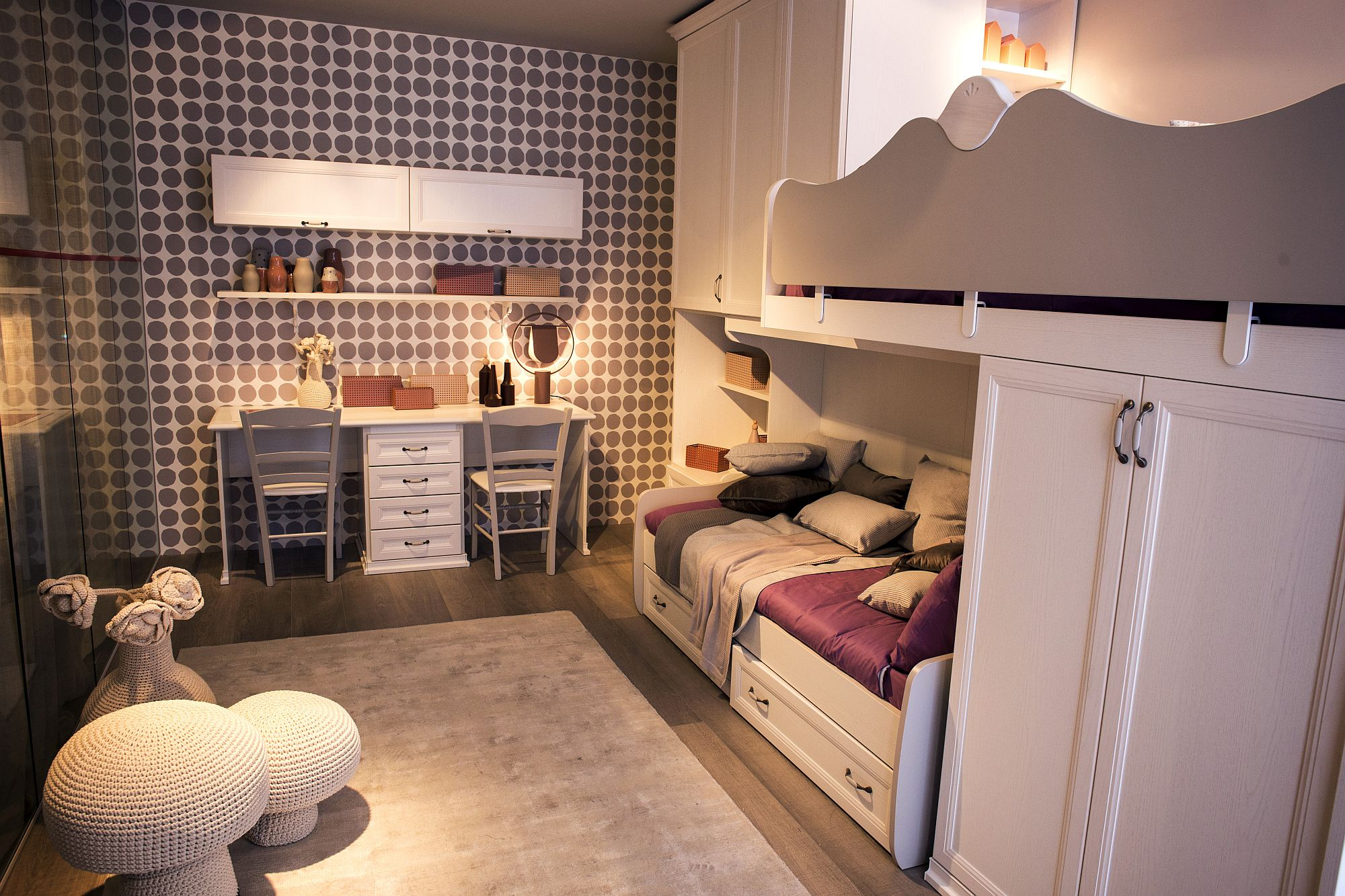 Bunk bed wall in the kids' room frees up space for other decor