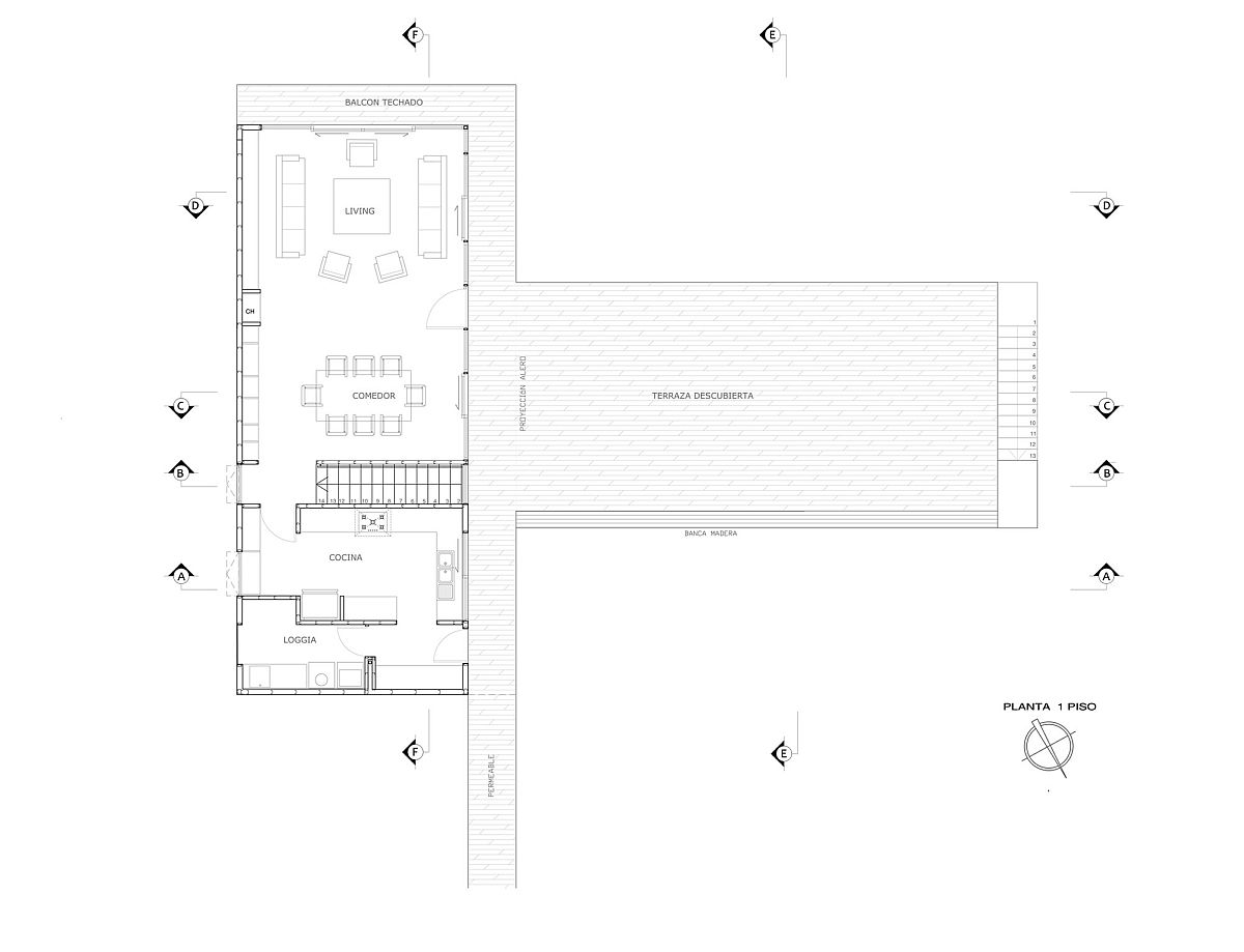 Floor plan of the lower level of the Cachagua home