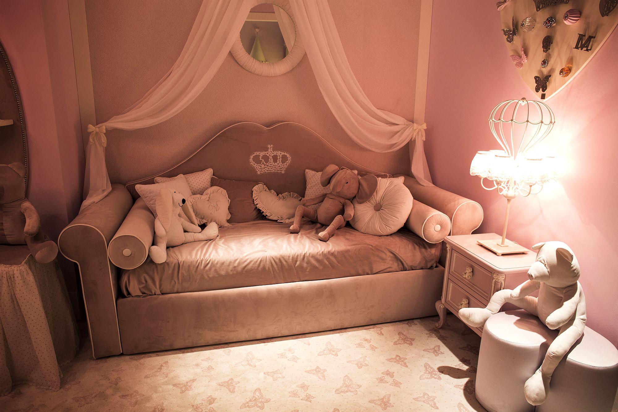 Trendy pink girls' bedroom decor