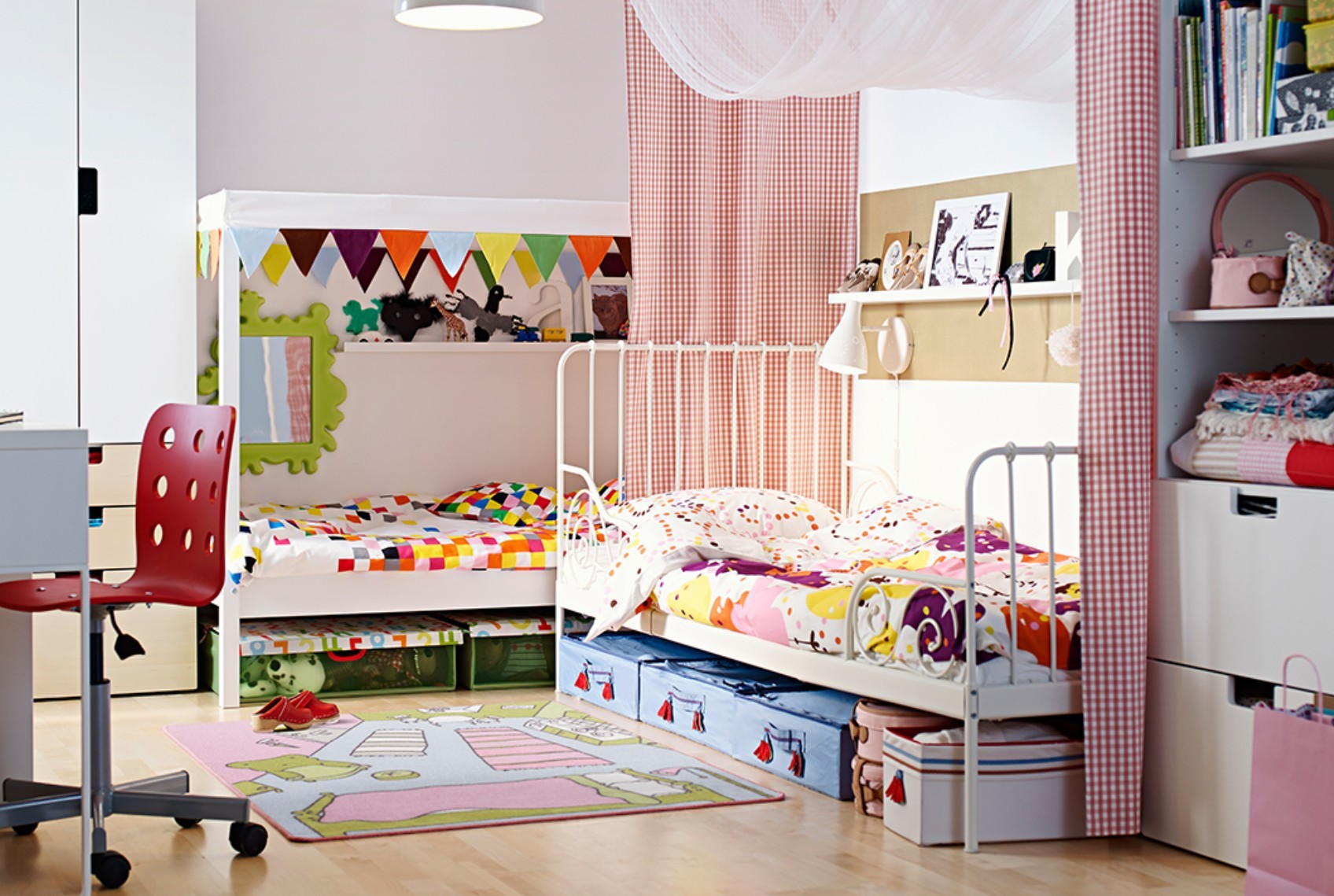 Vintage furniture brings unique magic into a modern kids room