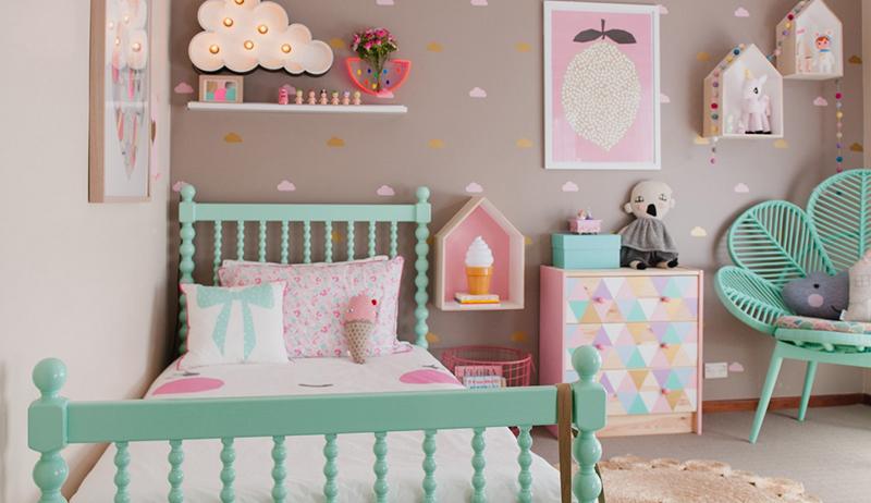 Vintage kids bedroom in pastel colors