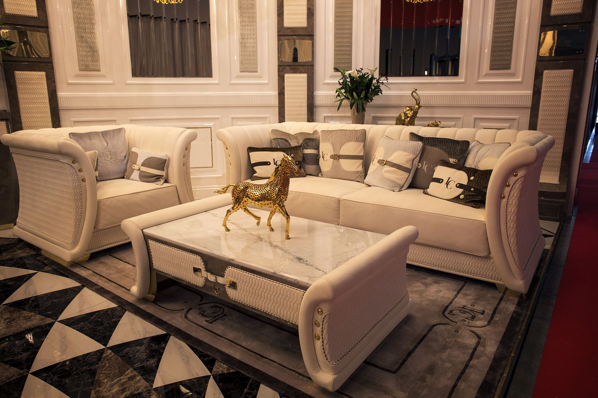 Gold and white living room with luxurious decor