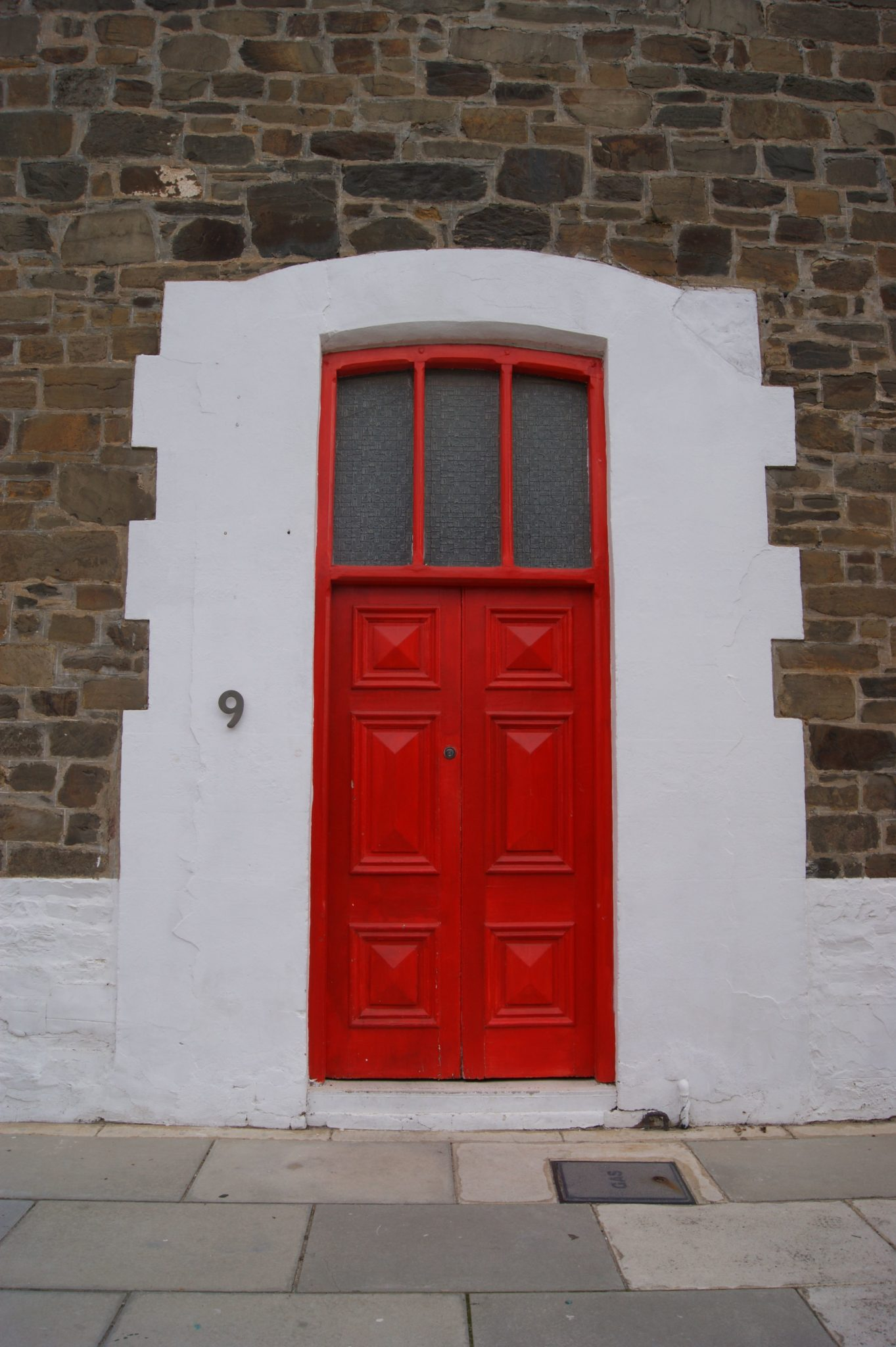 Red doors with an antique exterior