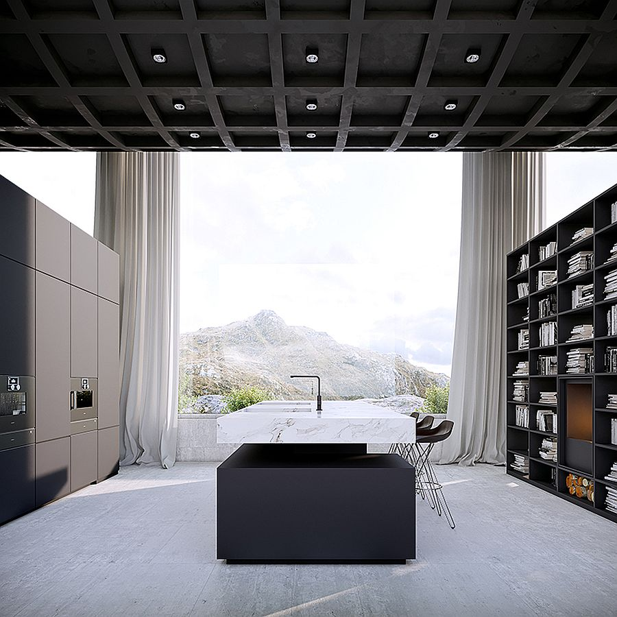 Monochromatic kitchen and dining of the Infinity House