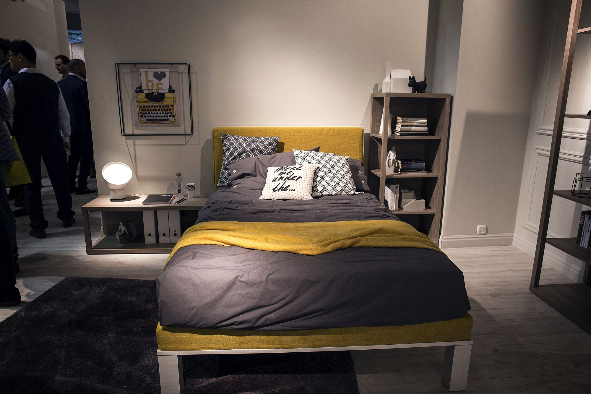 Nightstands turned into shelving space in the bedroom