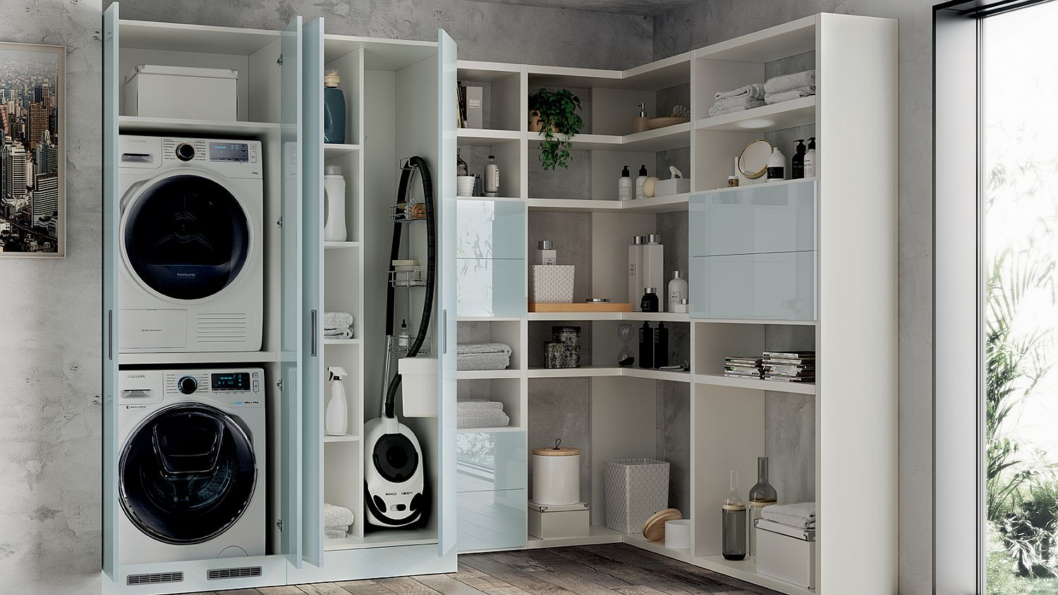 Corner wall shelves and cabinets coupled with laundry space
