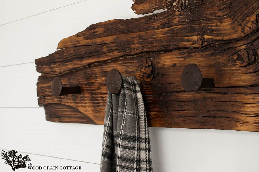 Homemade Wood and railroad spike cottage