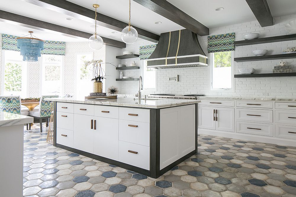 Light-filled and spacious modern kitchen with hexagonal floor tile