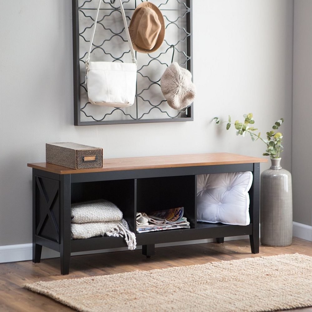 Small entry decorating idea in gray with a bench and ceramic vase in the corner