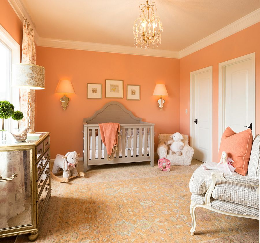 Exquisite nursery in Peach Blossom and white is perfect for the baby girl