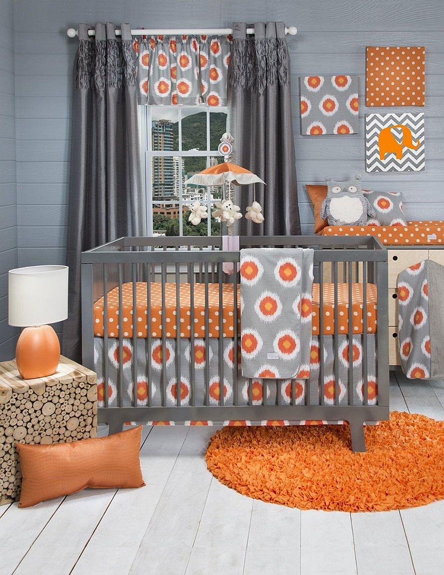 Trendy orange and gray nursery idea
