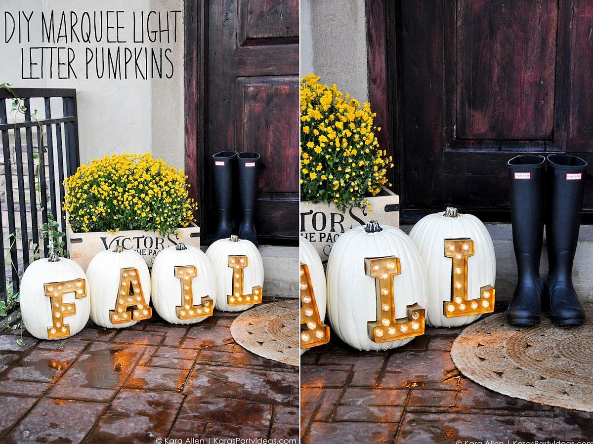 DIY Marquee Light Letter Pumpkins for Fall and beyond