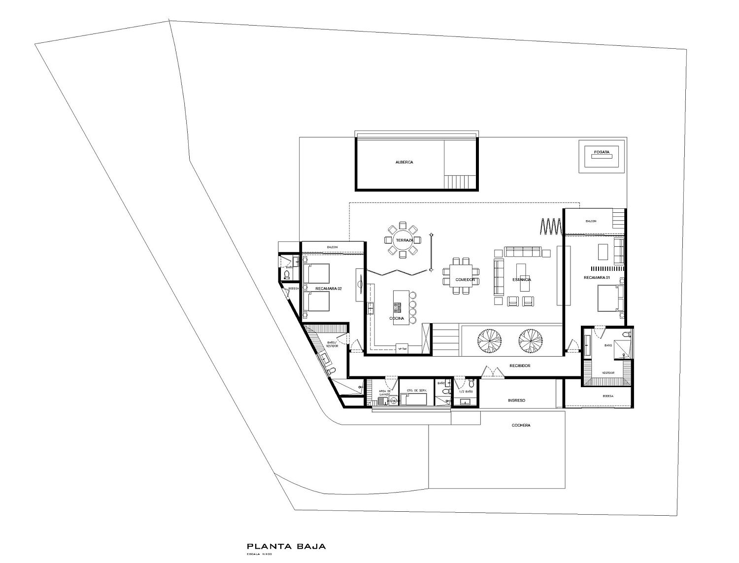 Floor plan of modern Lake House in Mexico