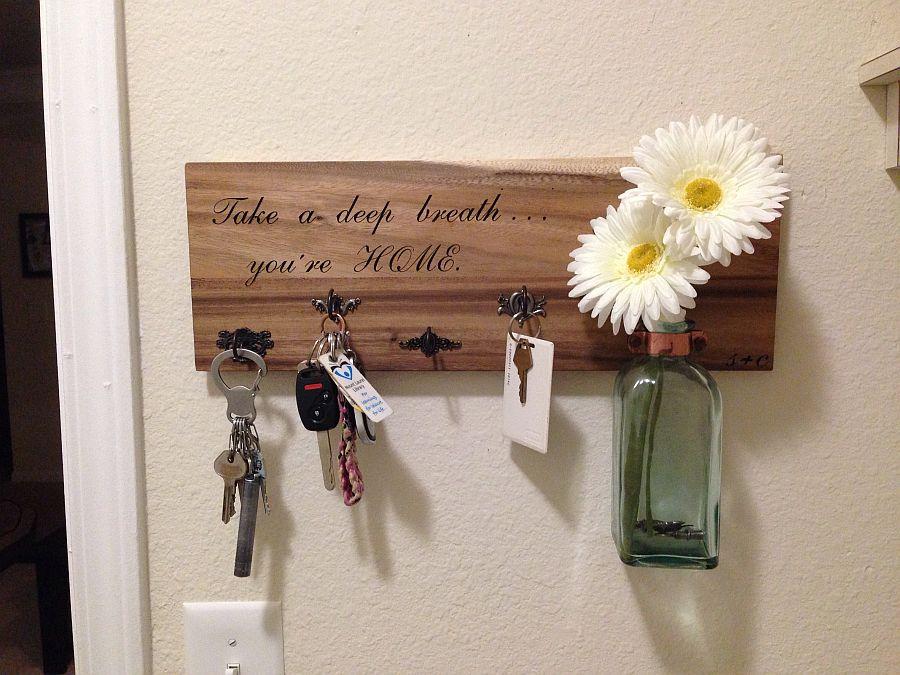 More traditional DIY key holder idea