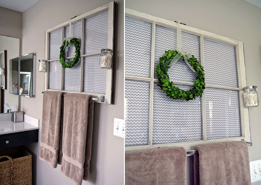 Reclaimed window frame transformed into a cool towel holder