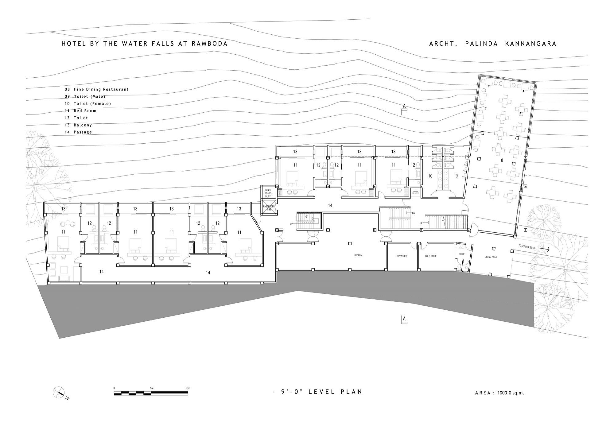 Restaurant level floor plan of Hotel by the Water Falls at Ramboda