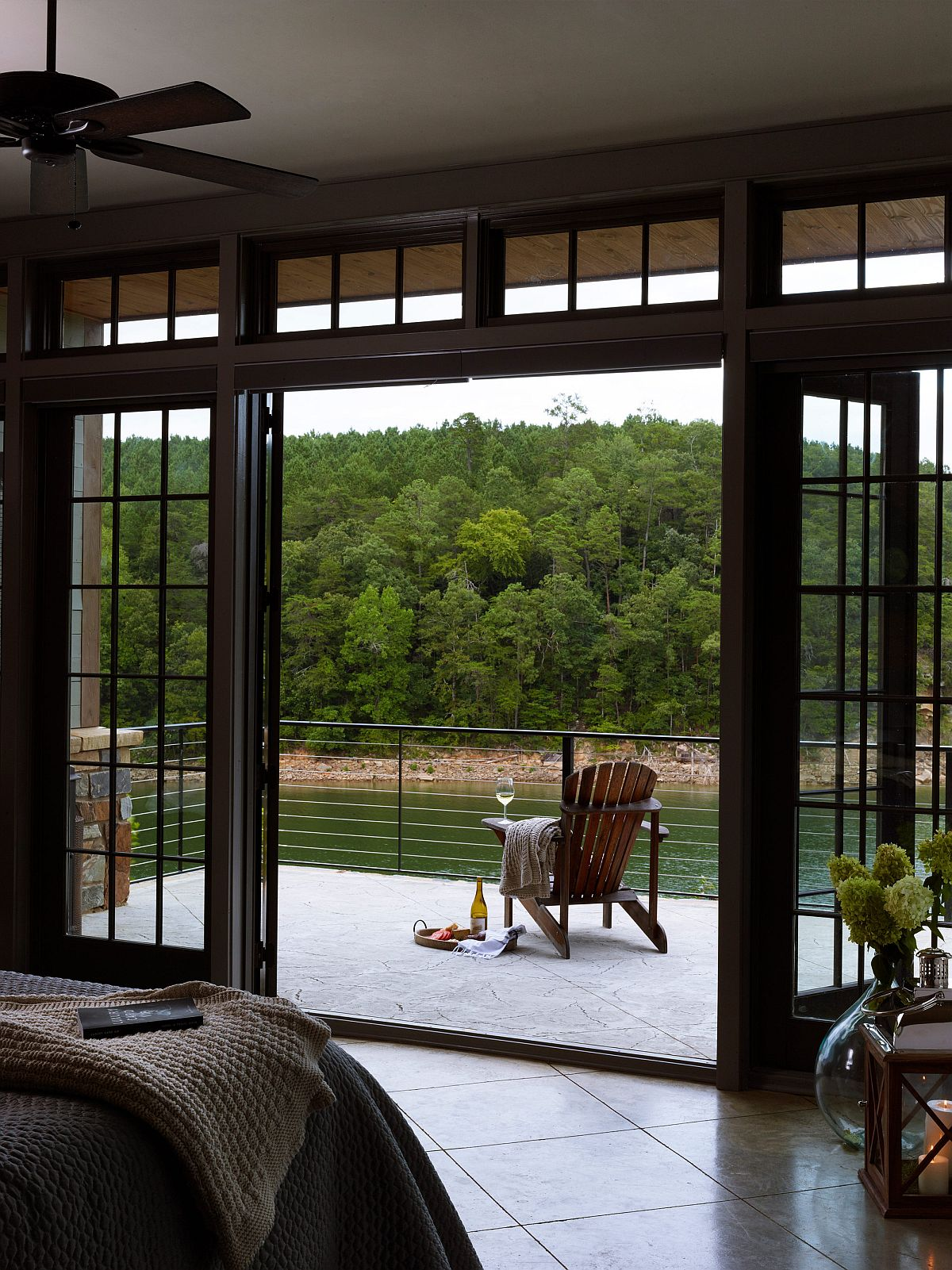 Romantic balcony with a view of the lake and beautiful mountains