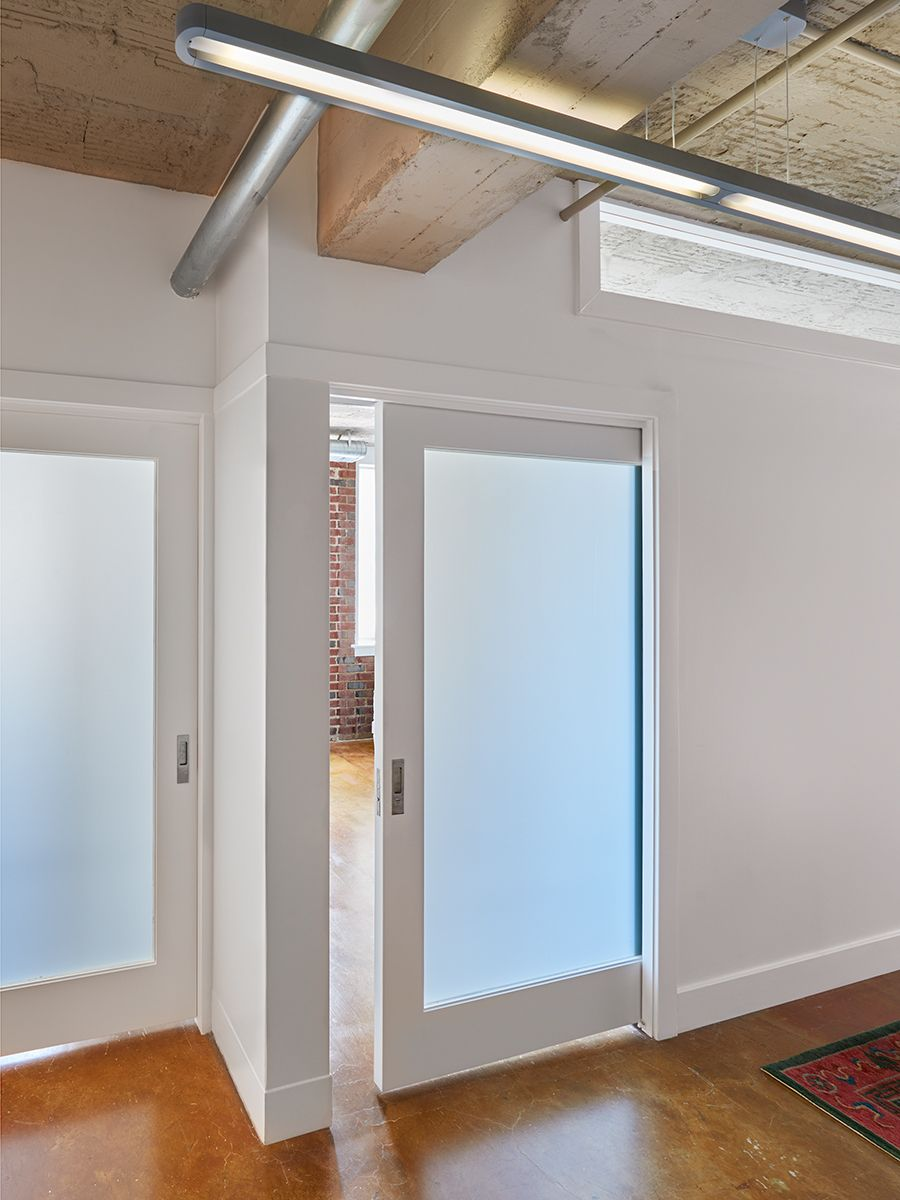 Sliding doors with translucent glass panes save space