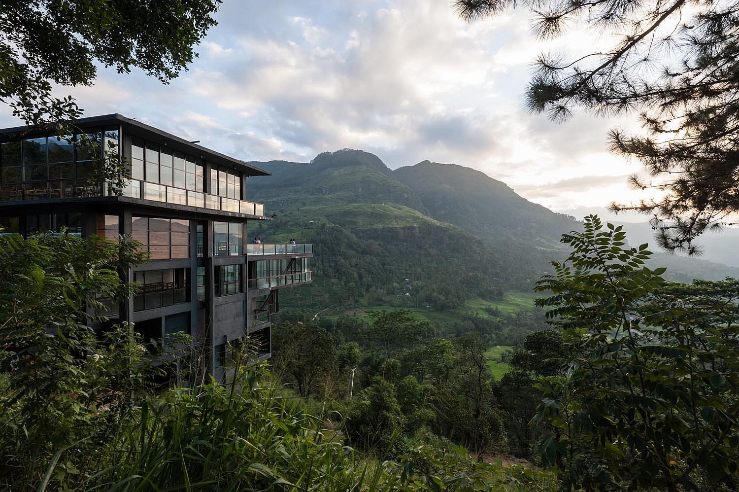 Stunning 6-story hotel building blends into the majestic landscape of Ramboda