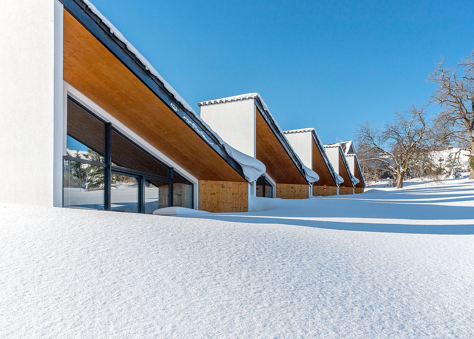 Gorgeous, snow-covered landscape around the villa along with its unique silhouette