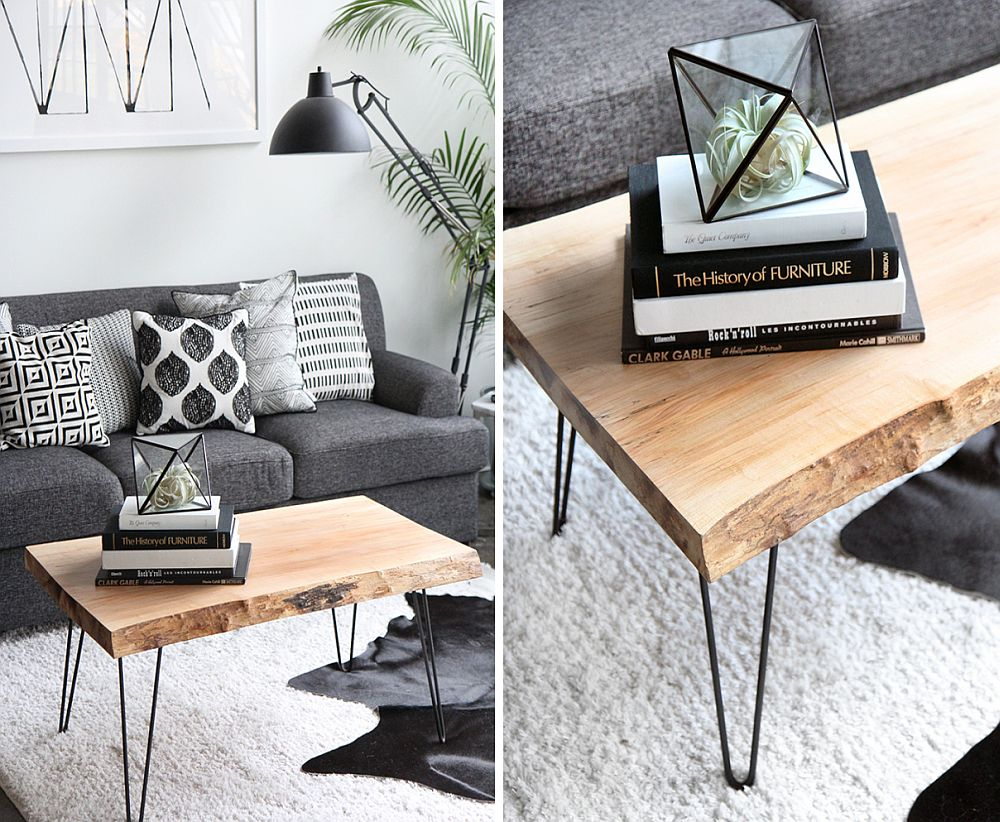 Live edge DIY Coffee Table with hairpin legs