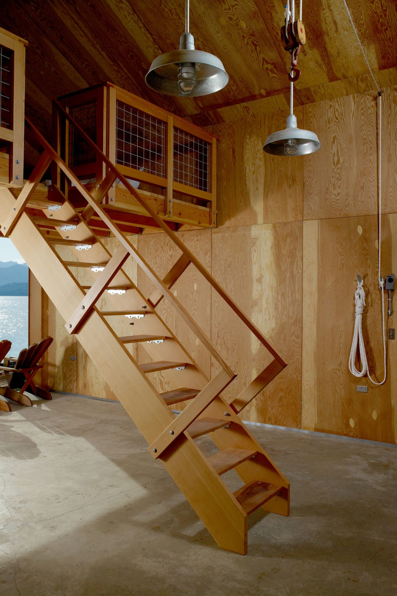 Retractable ladder for the attic bedroom inside the Boat House
