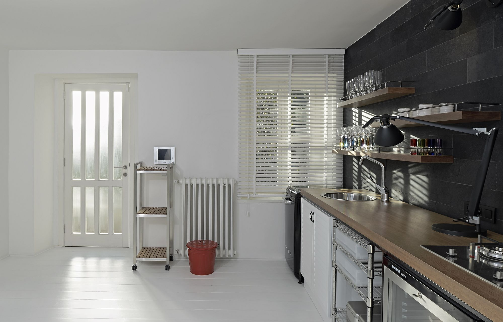 Space-savvy and minimal interior of the home in white