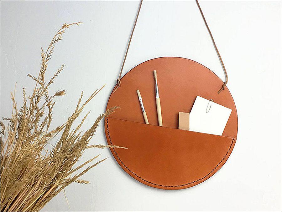 Stylish and sleek leather wall pockets