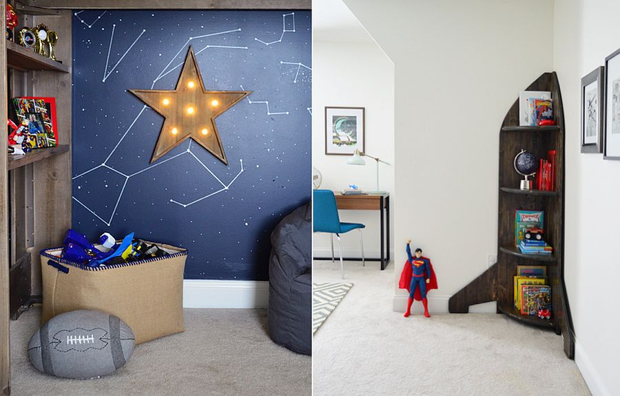 Modern space-themed kids' bedroom with homemade decor and decals