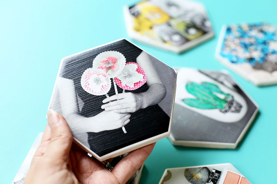 Custom and cool Hexagon Photo Coasters