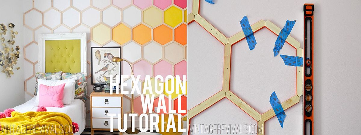DIY Hexagon ombre wall for the modern bedroom