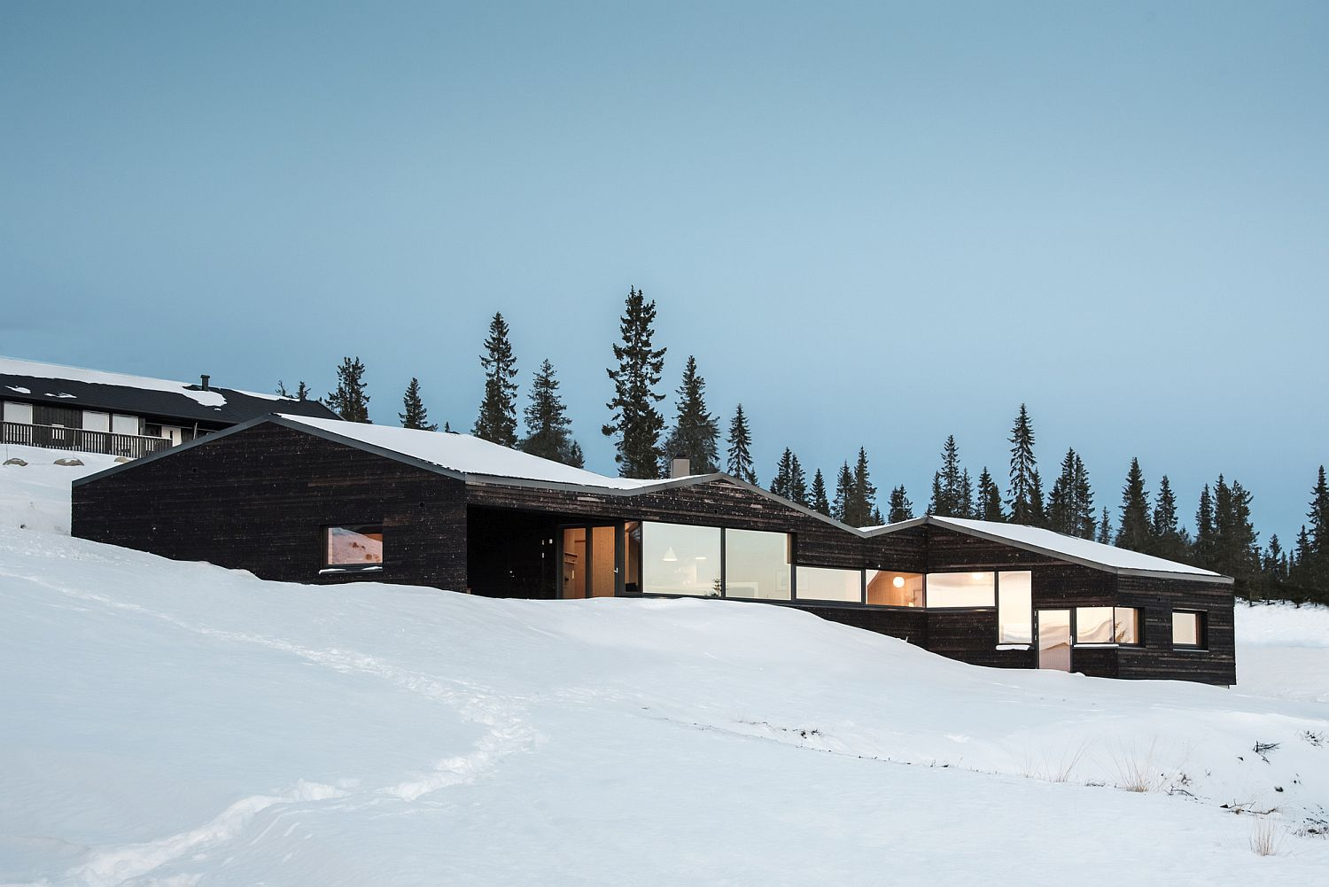 Smart placement of windows gives the cabin a modern vibe
