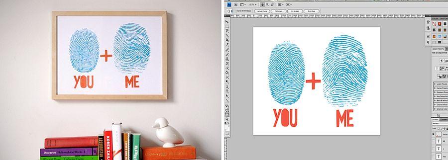 DIY fingerprint custom artwork as Valentine's Day gift